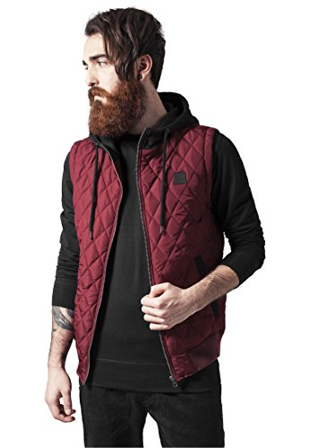 Diamond Quilted Hooded Vest burgundy/black XXL