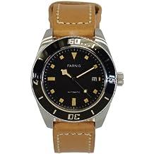 LIV MORRIS PARNIS MIYOTA 3200 0732066353829 - Reloj para hombres, correa de cuero color marrón