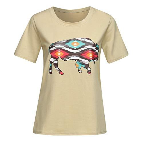 CAOQAO T-Shirt Rundhals Ausschnitt Sweatshirt Damen Gedruckt Shirt Kurzarm Blusen Tops Kausalen T-Shirt