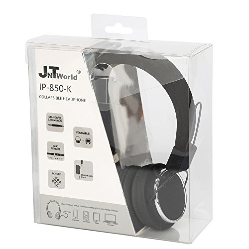 Headphones, JNTworld DJ Over the head Stereo collapsible Earphone Headphone handsfree with in-line mic cable for apple iphone 6 6s 5E samsung Galaxy S7 ipad mini(black)
