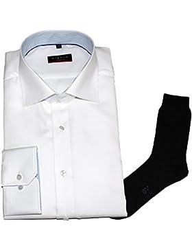ETERNA Herrenhemd Modern Fit, weiß, Struktur + 1 Paar hochwertige Socken, Bundle