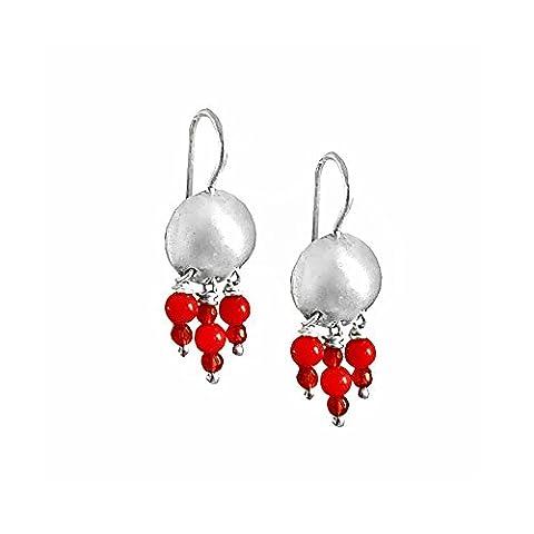 Coral Chandelier Drop Dangles Earrings Sterling Silver Beaded Earrings Dangling