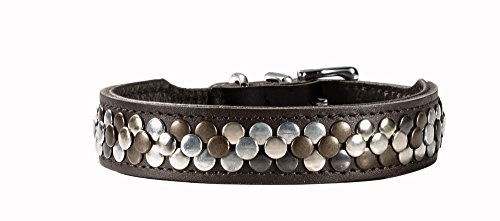 HUNTER ARIZONA Hundehalsband, Leder, mit Nietenbesatz, 55 (M), braun
