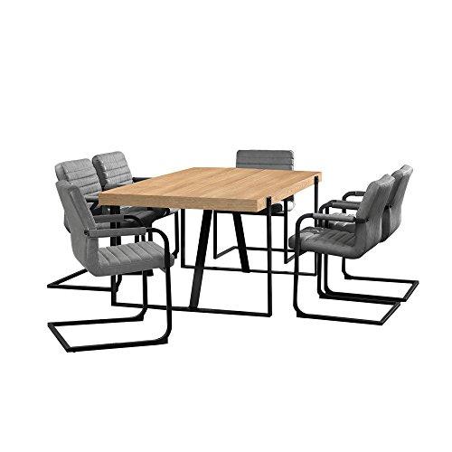[en.casa] Esstisch Eiche Natur mit 6 Stühlen Freischwinger gepolstert grau 180x100cm Esszimmer Essgruppe Küche