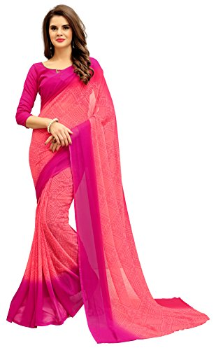 Navya Women's Georgette Saree With Blouse Piece (Nav320_Multi-Coloured)