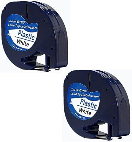 2x Compatible Dymo LetraTag 91201 Noir sur Blanc (12mm x 4m) Rubans Étiquettes Plastique pour Etiqueteuse Dymo LetraTag LT-100H, LT-100T, LT-110T, QX 50, XR, XM, 2000, Plus