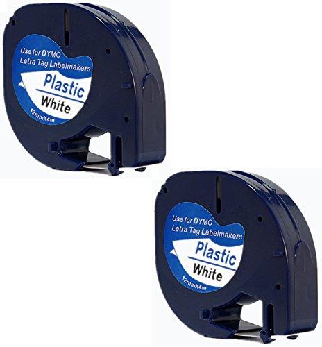 2x-compatible-dymo-letratag-91201-noir-sur-blanc-12mm-x-4m-rubans-etiquettes-plastique-pour-etiquete