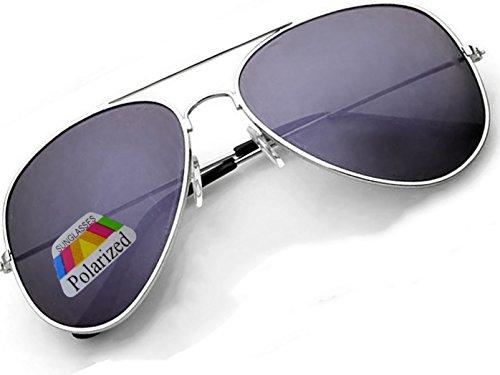 4sold Klassische Unisex Polarisierte Sonnenbrille in vielen Farbkombinationen (Silber Schwarz)