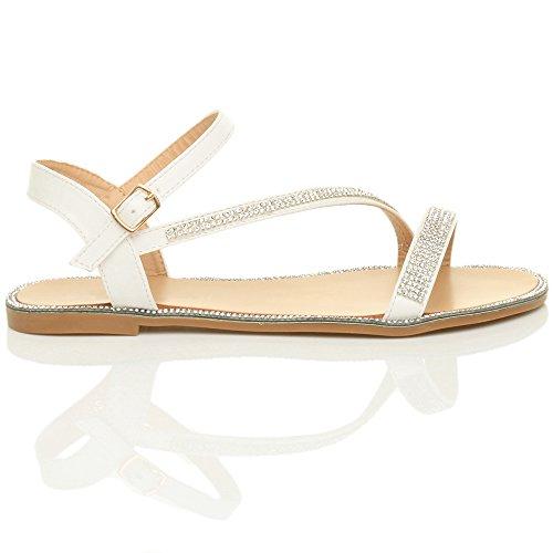 Damen Flach Kleiner Absatz Strass Schnalle Sommer Knöchelriemen Sandalen Größe Weiß mit Strass