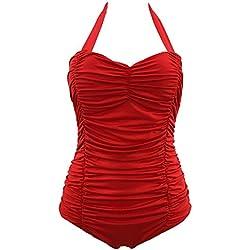 Mujer Retro 50S Pin Up Halter Una Pieza Traje De Baño Monokinis Rojo M