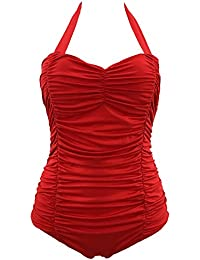 Mujer Retro 50S Pin Up Halter Una Pieza Traje De Baño Monokinis