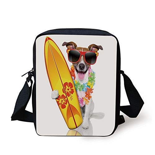 Ride The Wave,Surfer Puppy with Sunglasses and Tropical Hibiscus Flowers Hawaiian Dog Print,Multicolor Print Kids Crossbody Messenger Bag Purse