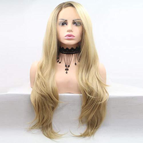 rücke Lange Gewellte Nahtlose Lace Front Dunkle Wurzel Kunsthaar Komfortable Natürliche Weibliche Lange Lockige Haare 24 Zoll ()