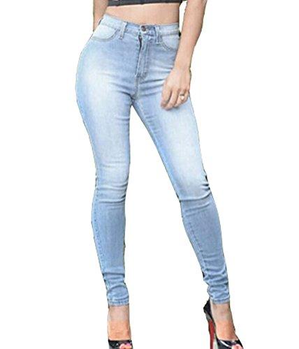 SMITHROAD Damen Stretch High Waist Skinny Jeans Used Look Five-Pocket-Style Jeanshose Hellblau Gr.38