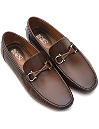 Rosso Brunello Men's Coffee Moccasins Genuine Leather Shoes