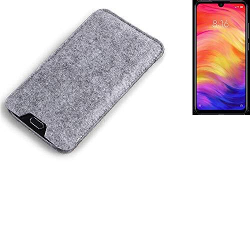 K-S-Trade® Filz Schutz Hülle Für Xiaomi Redmi Note 7 Global Schutzhülle Filztasche Filz Tasche Case Sleeve Handyhülle Filzhülle Grau