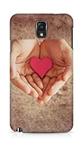Amez designer printed 3d premium high quality back case cover for Samsung Galaxy Note 3 (Pink Heart In Hands)