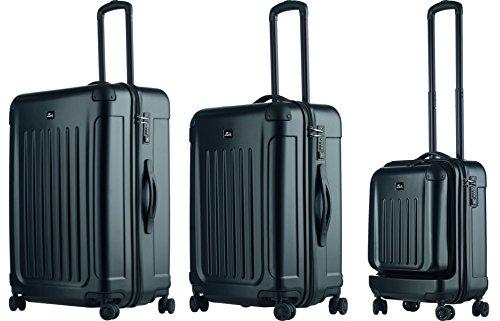 JSA 3er Reisetrolley-Set aus ABS - Polycarbonat Mix, je 4x 360° Leichtlaufrollen Koffer, 70 cm, 170 L, Schwarz Matt