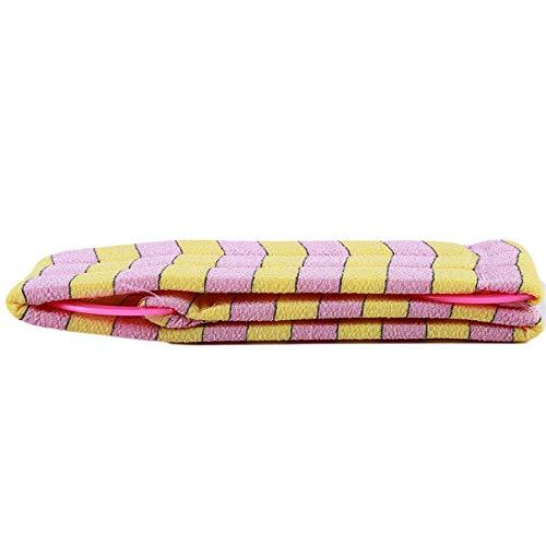 Bigsweety Badstreifen Lange Reiben Handtuchbürste Starker Badstreifen Körperwäscher (Rosa Gelb)