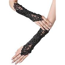 b3e4378452e8c2 Damen Schwarz Spitze Halbhandschuhe mit Pailletten und Blumenstickerei  Elegant Lace Stretch Fancy Gloves für Hochzeitsfest Kostüm