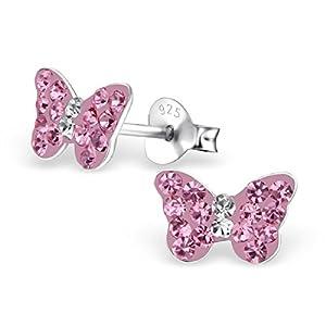 Monkimau Mädchen-Ohrringe in 925 Sterling Silver Silber mit rosa Kristallen