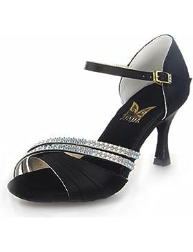 Jia Jia 20524 Damen Sandalen Ausgestelltes Heel Super-Satin mit Strass Latein Tanzschuhe