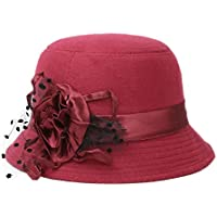 Aikesi 1pcs sombrero de las mujeres del casquillo de la flor de encaje fieltro algodón suave del otoño e invierno elegantes sombreros del jugador de bolos, azufaifo