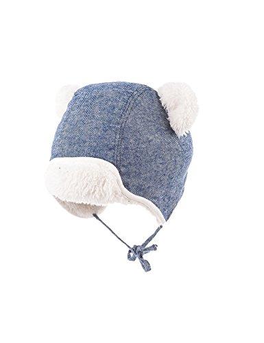maximo Baby-Jungen Parkamütze mit Ohren, Bindeband Mütze, Mehrfarbig (Denim/wollweiß 4038), 47/49