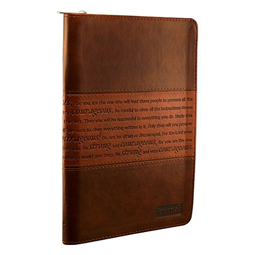STRONG & COURAGEOUS BROWN LUXLEATHER JOURNAL by Christian Art (1-Nov-2012) Imitation Leather