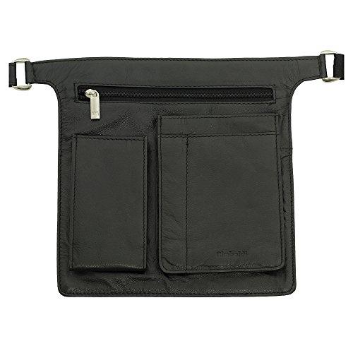 Preisvergleich Produktbild Profi Kellnerbörsen Halfter Kellnertasche inkl. 7 Zoll Tablet Fach aus weichem hochwertigem Rindsleder in Schwarz