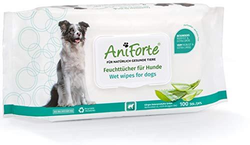 AniForte Pflegetücher für Hunde 100 Stück - XXL desodorierende Reinigungstücher mit extra Frischeverschluss, hypoallergen, besonders mild, sanft, reißfest, biologisch abbaubar, natürliche Reinigung -