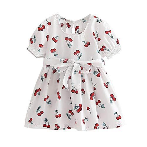 Sommerkleid für Mädchen, kurzärmlig, Kirschmotiv, Gr. 38-6T