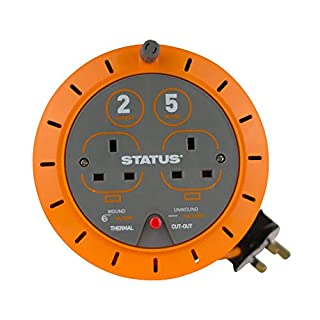 Status 10A 2 Socket Cassette Reel with Thermal Out,Orange,5 metres