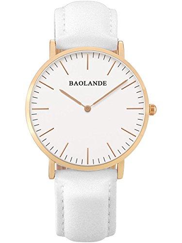 Alienwork Classic St.Mawes Reloj cuarzo elegante cuarzo moda diseño atemporal clásico Piel de vaca oro rosa blanco U04815L-02