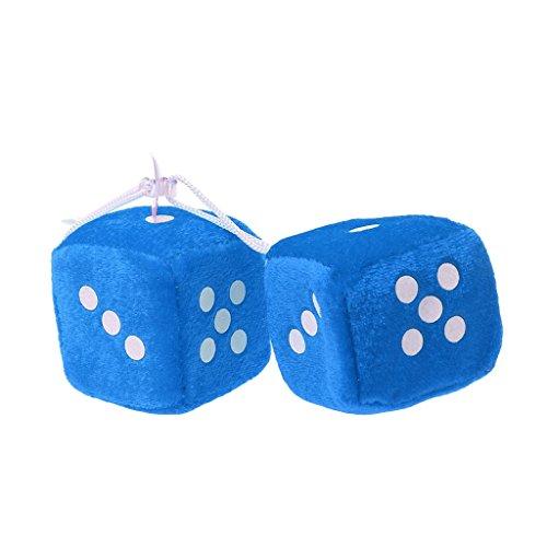 Lergo 1 Paar Fuzzy Dice Dots Rückspiegel Aufhänger Dekoration Auto Styling Zubehör, blau (Blau Für Dice Fuzzy Auto)