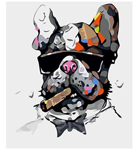 HNZZLC DIY Ölgemälde Digitale Zeichnung Kinder Malerei Set Home Mural Dekoration Erwachsene Leinwand Schöne Landschaft Welpen Tragen Sonnenbrille 40X50 cm