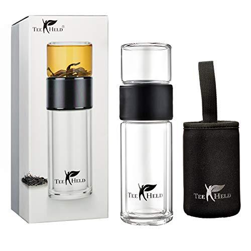 Teeheld M1 Premium Teeflasche mit Sieb to Go Teebereiter Glas-Trinkflasche Doppelwandig mit Edelstahl Tee-Sieb und Thermo-Funktion BPA frei in Geschenkverpackung