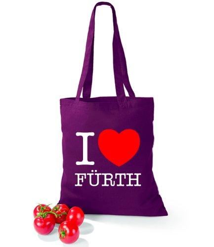 Artdiktat Baumwolltasche I love Fürth Burgundy
