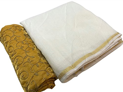 SilverStar Women's Chanderi Cotton White Color Palin Saree With Yellow Color Full...