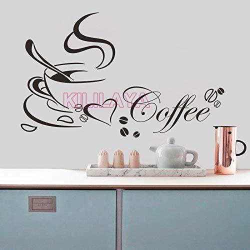 HNXDP Kaffeetasse Vinyl Wandaufkleber für Küche Café Wandbild Wandkunst Tapete Wohnkultur Haus Dekoration Wandtattoos Poster 65x40 cm