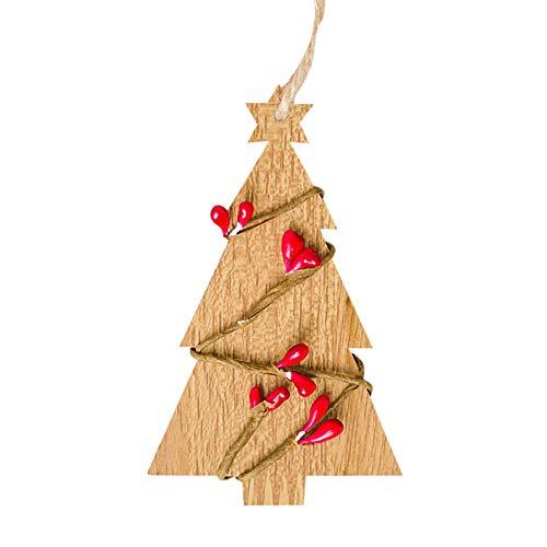 Amphia 1pc Weihnachts-Holz-Chip-Baum Ornamente Xmas hängende Pendel Dekoration Geschenke Haus Dekoration - Hölzerne Weihnachtsbaum dekorative Anhänger Khaki, beige, braun -