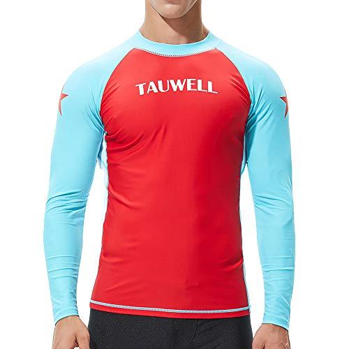 Plot Herren Langarm Bademode, UV-Schutz UPF 50+ Basic Surfen Tauchen Shirt Rash Guard Tops (Rot 2, XL)