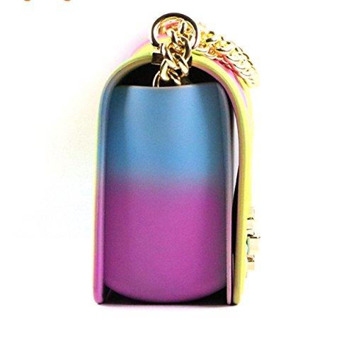 Nuovi Moda PVC Borse Colore Arcobaleno Opaco Opaco Catena Sacchetto Di Gelatina Lingge Borsa A Tracolla Diagonale Multi