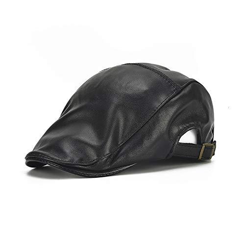 qIANqian QIAN Autumn And Winter Leisure Cap Leather Simple Adjustable Cap Sheepskin Simple Black Cap Men