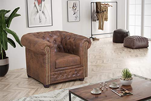 Küchen-Preisbombe Top Chesterfield Sofa 1 Sitzer Mikrofaser Vintage braun Couch Polstersofa Sessel