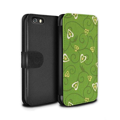 Stuff4 Coque/Etui/Housse Cuir PU Case/Cover pour Apple iPhone SE / Jaune/Vert Design / Coeur Vigne Motif Collection Jaune/Vert