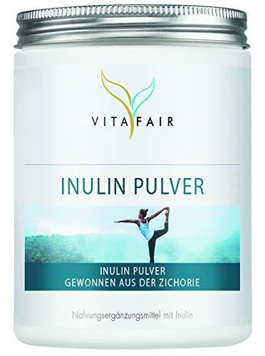 Inulin Pulver - Hochdosiertes Inulin aus der Zichorie - 500 g - 5mg pro Tagesdosis - Vegan - Ohne Magnesiumstearat - Made in Germany