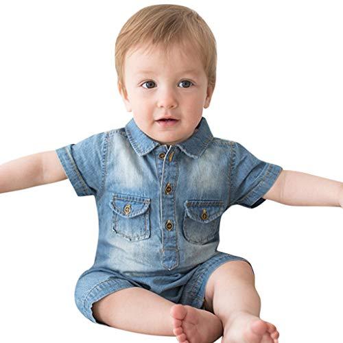 geborene Baby Kurzarm Jumpsuit aus Jeansstoff Klassischer Cowboy Jungen Overall Mädchen Outfits Kleidung Kurzarm Denim Sommer Unisex Strampler Bodysuit ()