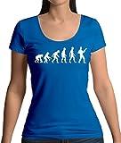 Evolution de l\'homme Guitare Basse - T-Shirt à Col Rond Profond Pour Femme - Bleu Royale - M