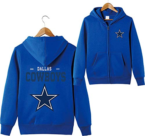 ZXTXGG Männer 3D Hoodies Dallas Cowboys NFL Football Team Uniform Muster Digitaldruck Strickjacke Reißverschluss Liebhaber Kapuzenpullis(XXL,Blau)